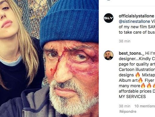 Sylvester Stallone le visage tuméfié: il poste une impressionnante photo de tournage
