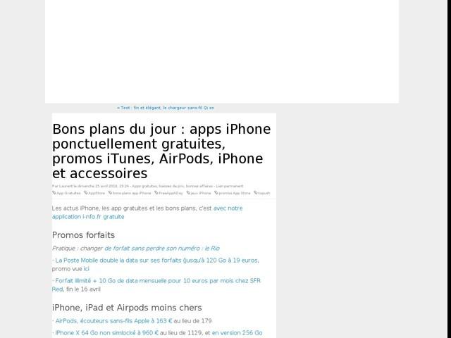 Bons plans du jour : apps iPhone ponctuellement gratuites, promos iTunes, AirPods, iPhone et accessoires