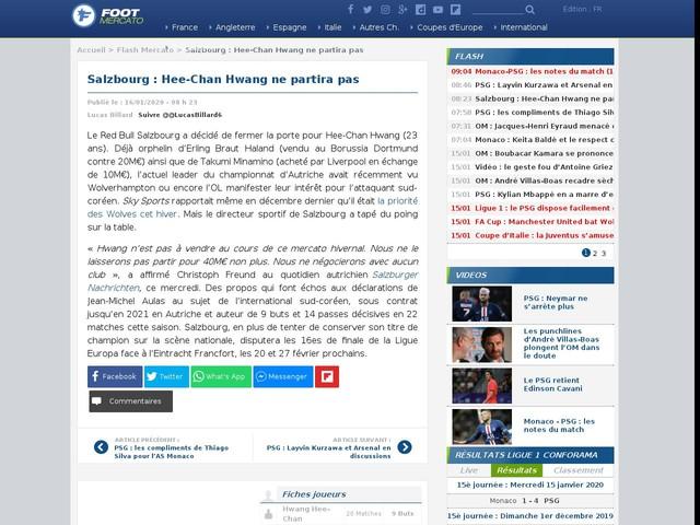 Salzbourg : Hee-Chan Hwang ne partira pas