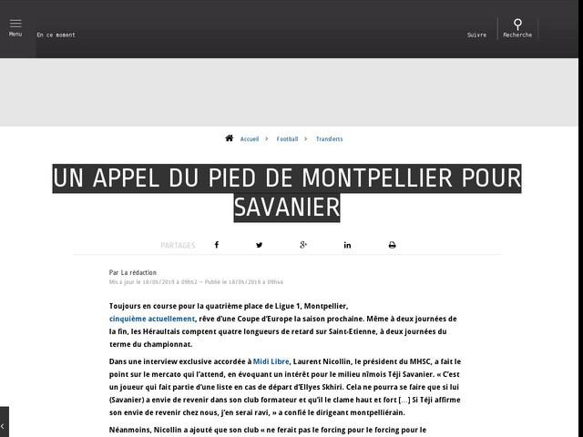 Football - Transferts - Un appel du pied de Montpellier pour Savanier