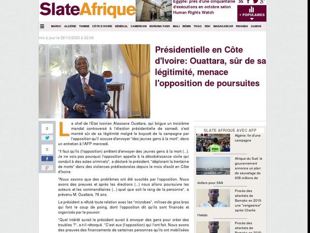 Présidentielle en Côte d'Ivoire: Ouattara, sûr de sa légitimité, menace l'opposition de poursuites