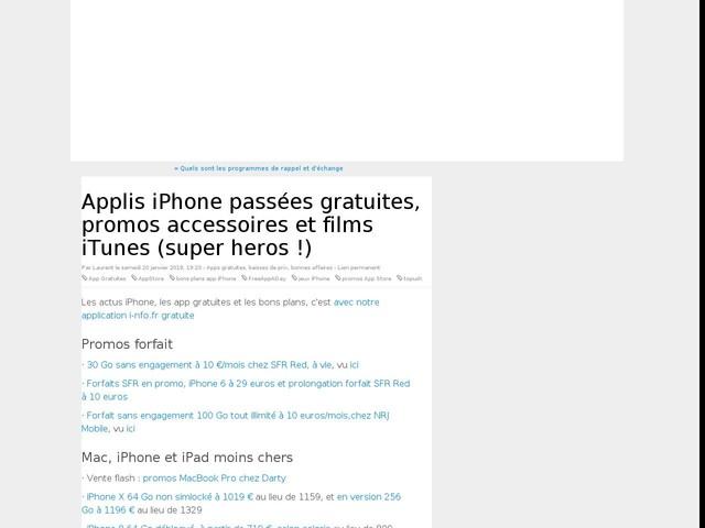 Applis iPhone passées gratuites, promos accessoires et films iTunes (super heros !)