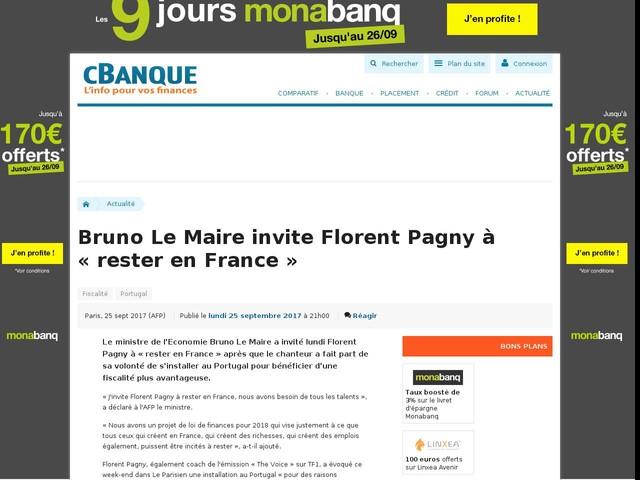 Bruno Le Maire invite Florent Pagny à « rester en France »