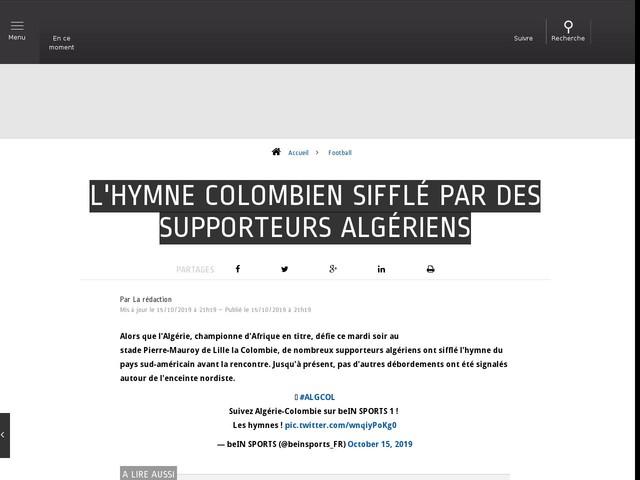 Football - L'hymne colombien sifflé par des supporteurs algériens