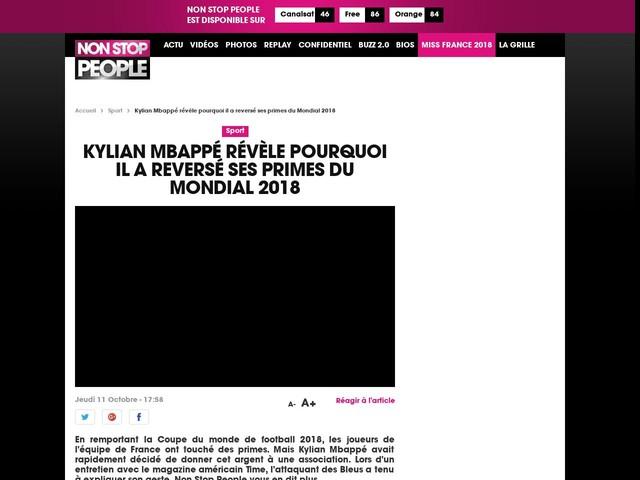 Kylian Mbappé révèle pourquoi il a reversé ses primes du Mondial 2018