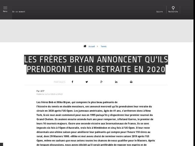 Tennis - Les frères Bryan annoncent qu'ils prendront leur retraite en 2020