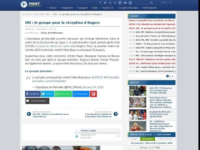 OM : le groupe pour la réception d'Angers