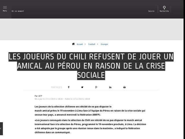 Football - Etranger - Les joueurs du Chili refusent de jouer un amical au Pérou en raison de la crise sociale