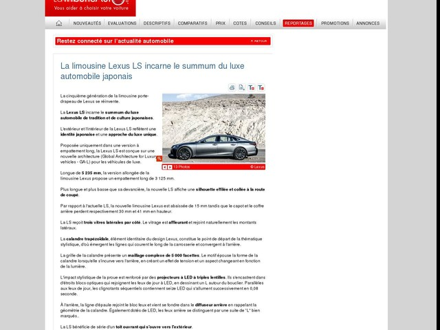 La limousine Lexus LS incarne le summum du luxe automobile japonais