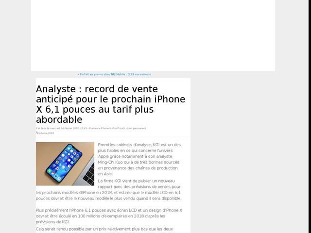Analyste : record de vente anticipé pour le prochain iPhone X 6,1 pouces au tarif plus abordable