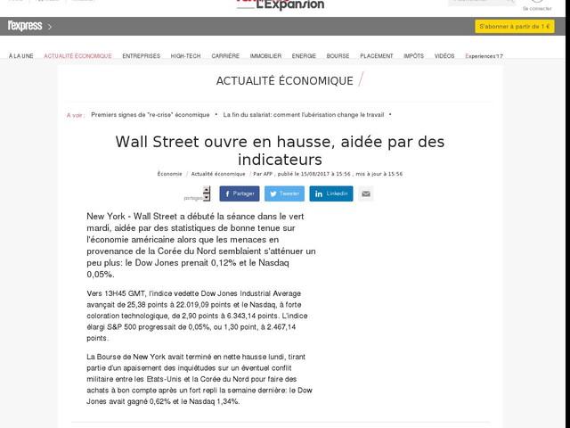 Wall Street ouvre en hausse, aidée par des indicateurs