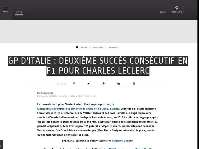 Auto/Moto - GP d'Italie : Deuxième succès consécutif en F1 pour Charles Leclerc