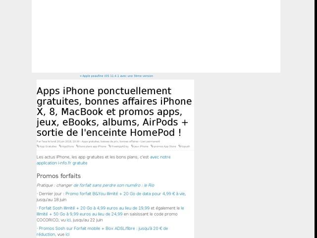 Apps iPhone ponctuellement gratuites, bonnes affaires iPhone X, 8, MacBook et promos apps, jeux, eBooks, albums, AirPods + sortie de l'enceinte HomePod !