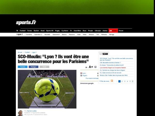 """SCO-Moulin: """"Lyon ? Ils vont être une belle concurrence pour les Parisiens"""""""