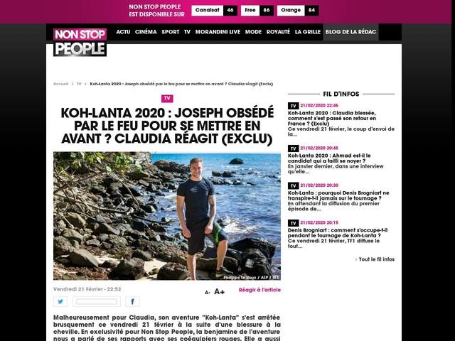 Koh-Lanta 2020 : Joseph obsédé par le feu pour se mettre en avant ? Claudia réagit (Exclu)