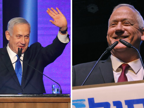 Elections en Israël: le Premier ministre Netanyahu et son rival Gantz au coude à coude