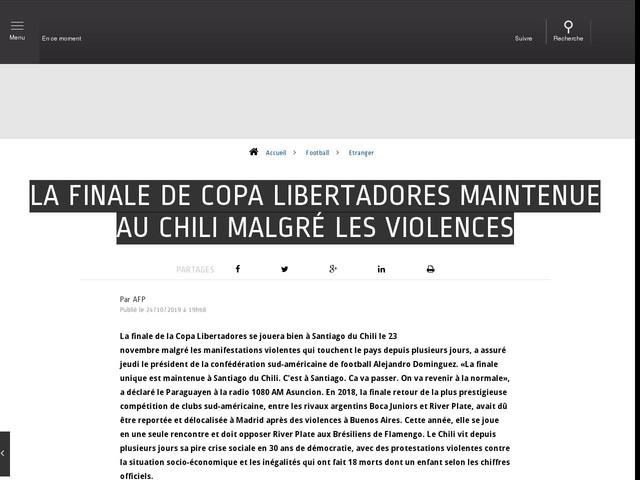 Football - Etranger - La finale de Copa Libertadores maintenue au Chili malgré les violences