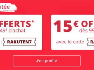 Bon Plan : Rakuten offre aujourd'hui 7€ ou 15€ de remise