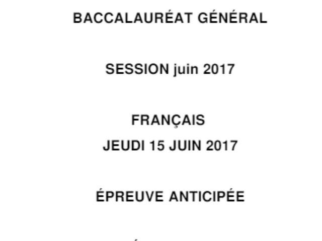 Les corrigés du bac de français 2017 des séries L, ES, S et techno