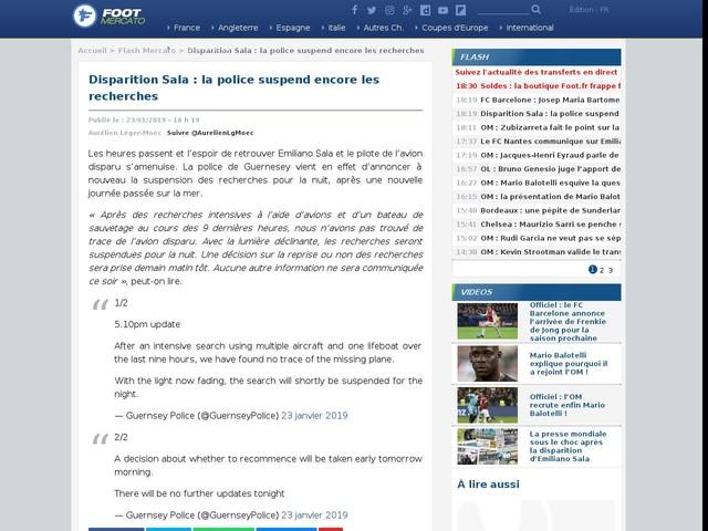 Disparition Sala : la police suspend encore les recherches