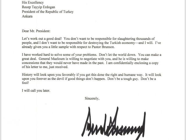 Trump vante son retrait de Syrie et une surprenante lettre à Erdogan