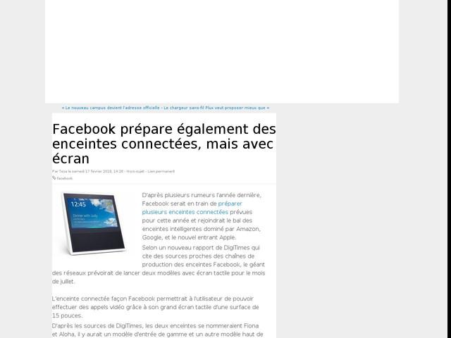 Facebook prépare également des enceintes connectées, mais avec écran