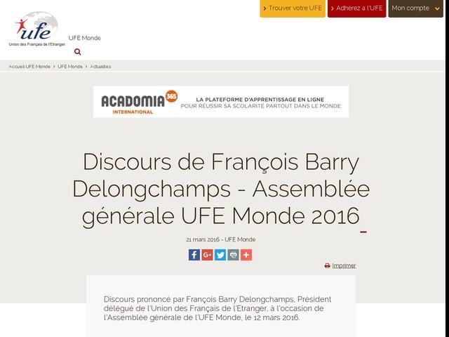 Discours de François Barry Delongchamps - Assemblée générale UFE Monde 2016