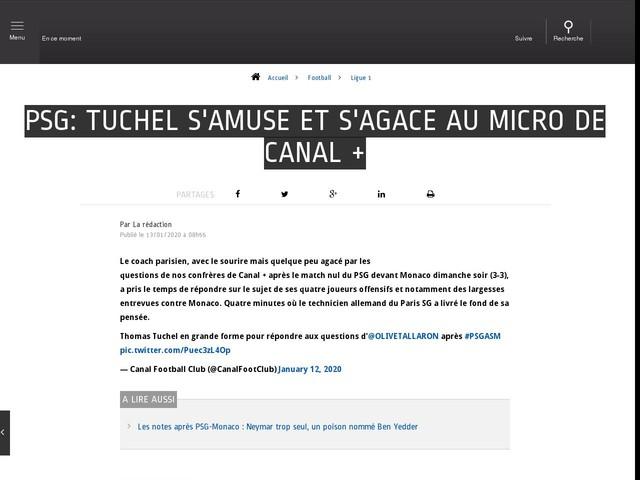 Football - Ligue 1 - PSG: Tuchel s'amuse et s'agace au micro de Canal +