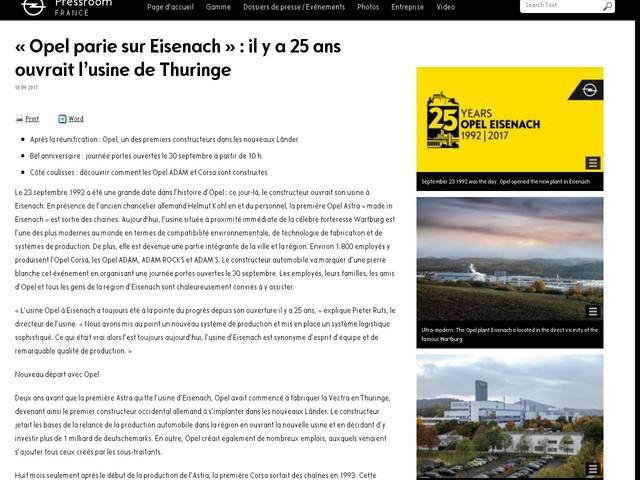 « Opel parie sur Eisenach » : il y a 25 ans ouvrait l'usine de Thuringe