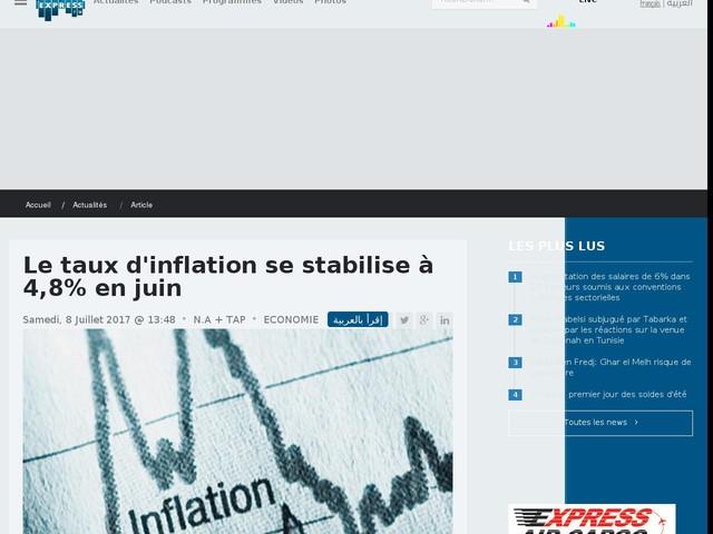 Le taux d'inflation se stabilise à 4,8% en juin
