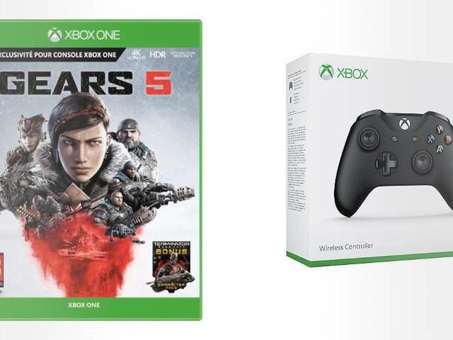 Gears 5 sur Xbox One + une manette sans fil coloris noir ou blanc à 89,98€