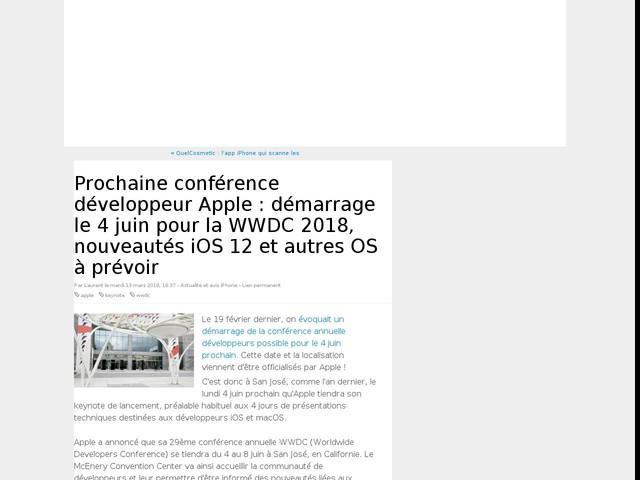 Prochaine conférence développeur Apple : démarrage le 4 juin pour la WWDC 2018, nouveautés iOS 12 et autres OS à prévoir