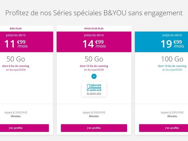 Forfait mobile : les nouvelles offres Bouygues, à partir de 50 Go pour 11,99 euros/mois
