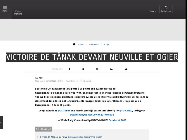 Auto/Moto - Victoire de Tänak devant Neuville et Ogier