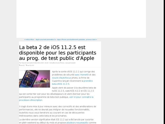 La beta 2 de iOS 11.2.5 est disponible pour les participants au prog. de test public d'Apple