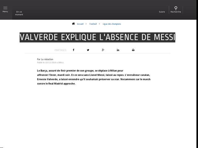 Football - Ligue des champions - Valverde explique l'absence de Messi