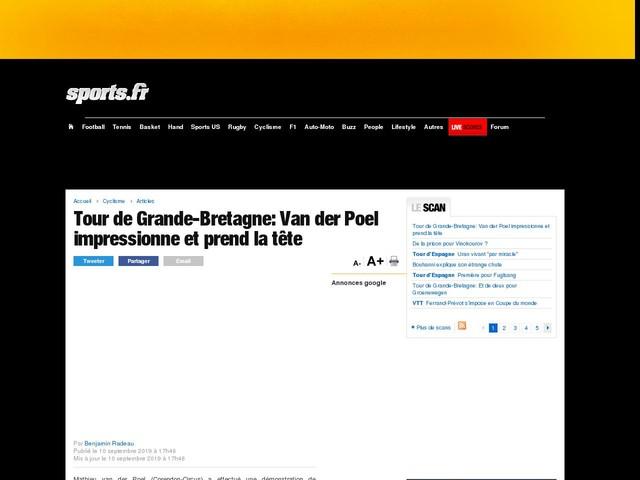 Tour de Grande-Bretagne: Van der Poel impressionne et prend la tête