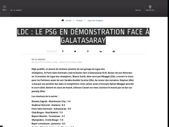 Football - Ligue des champions - Ldc : Le PSG en démonstration face à Galatasaray
