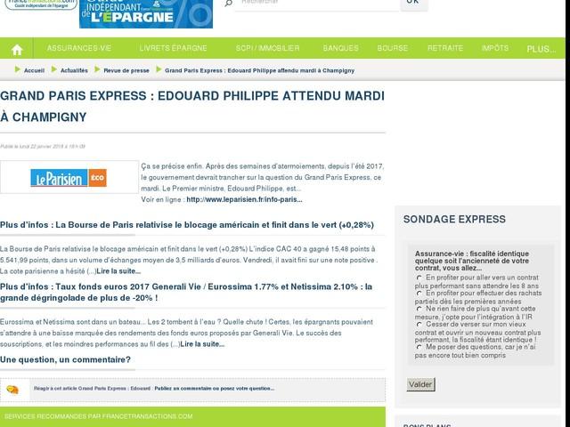 Grand Paris Express : Edouard Philippe attendu mardi à Champigny