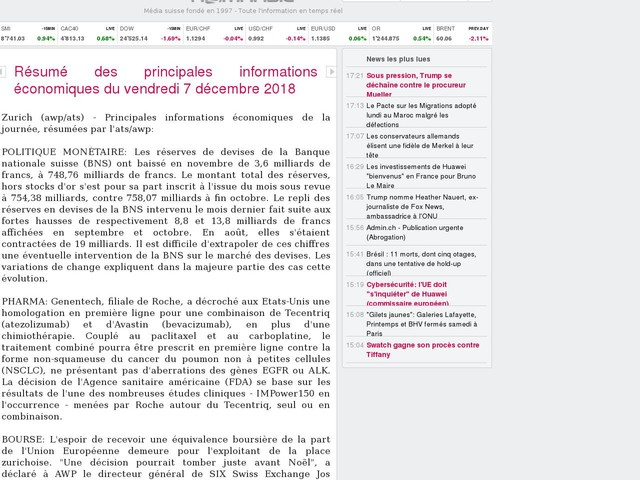 Résumé des principales informations économiques du vendredi 7 décembre 2018