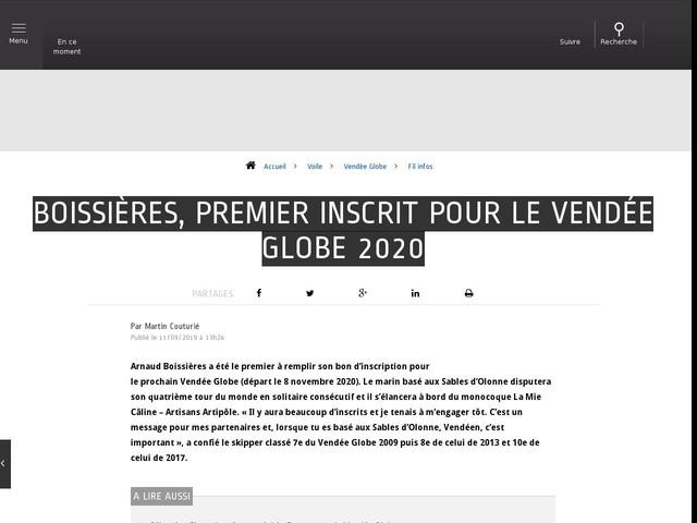 Voile - Vendée Globe - Boissières, premier inscrit pour le Vendée Globe 2020