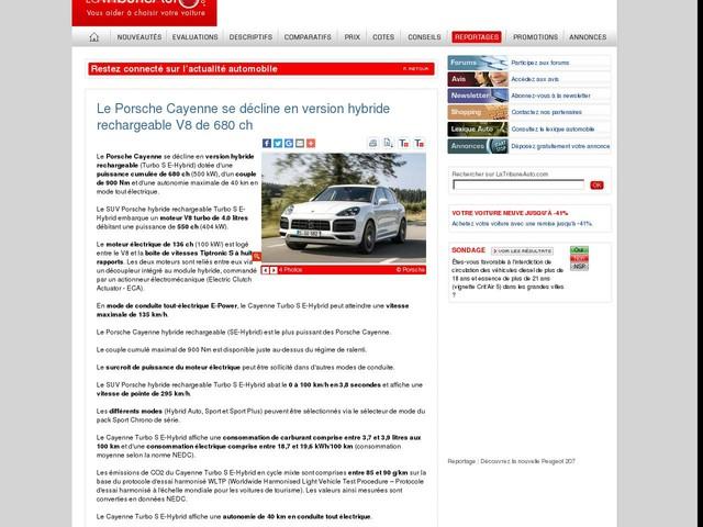 Le Porsche Cayenne se décline en version hybride rechargeable V8 de 680 ch
