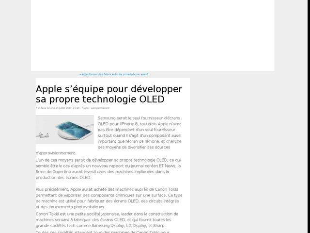 Apple s'équipe pour développer sa propre technologie OLED