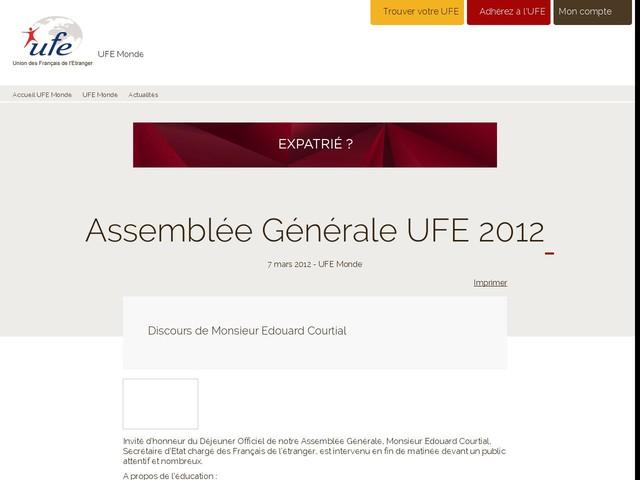 Assemblée Générale UFE 2012