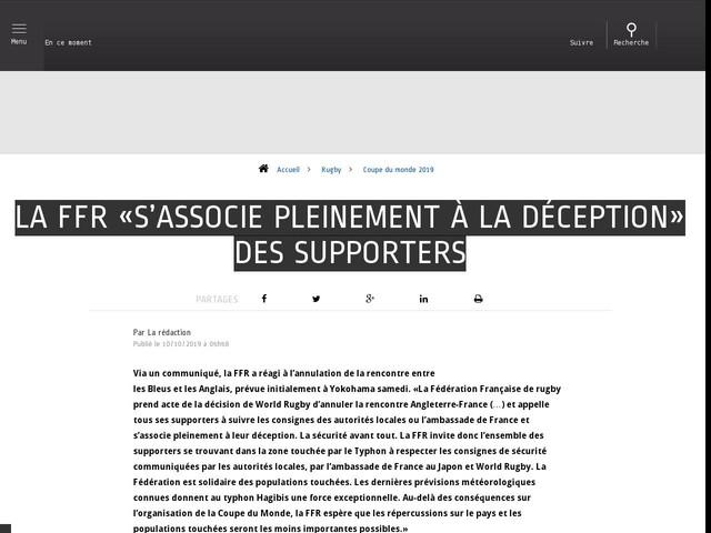 Rugby - Coupe du monde 2019 - La FFR «s'associe pleinement à la déception» des supporters