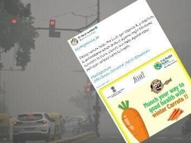Face à la pollution en Inde, le ministre de la Santé conseille de manger des carottes