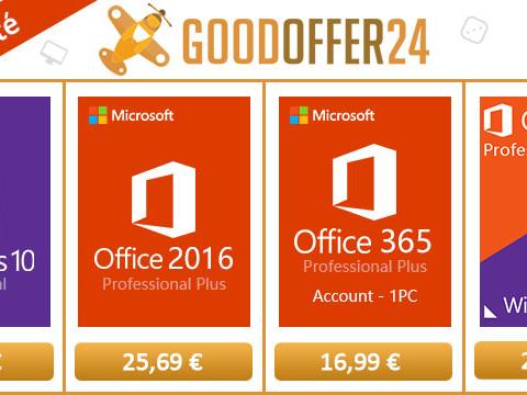 [Bon Plan] Windows 10 Pro à 11,07 €, Office 2016 Pro à 25,69 € et Office 365 Pro à 16,99 € sur Goodoffer24 !