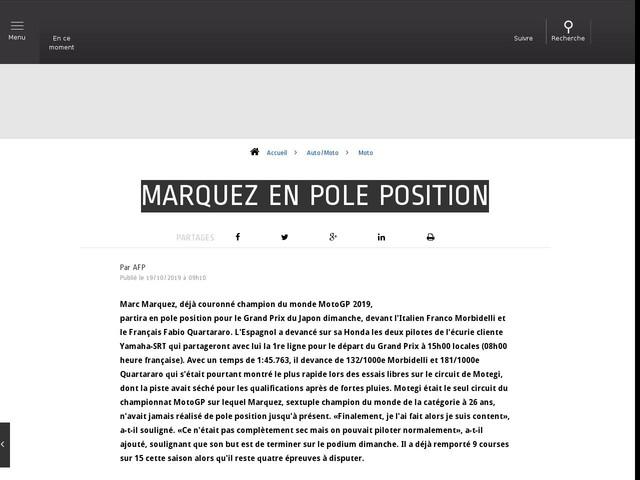 Auto/Moto - Marquez en pole position