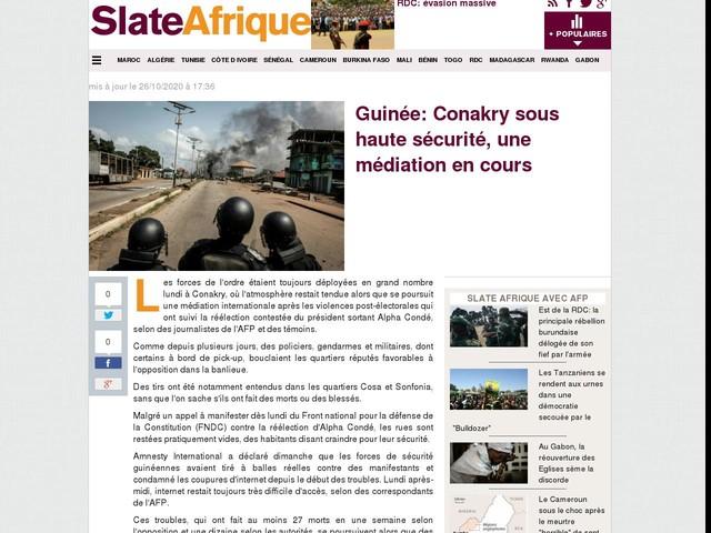 Guinée: Conakry sous haute sécurité, une médiation en cours