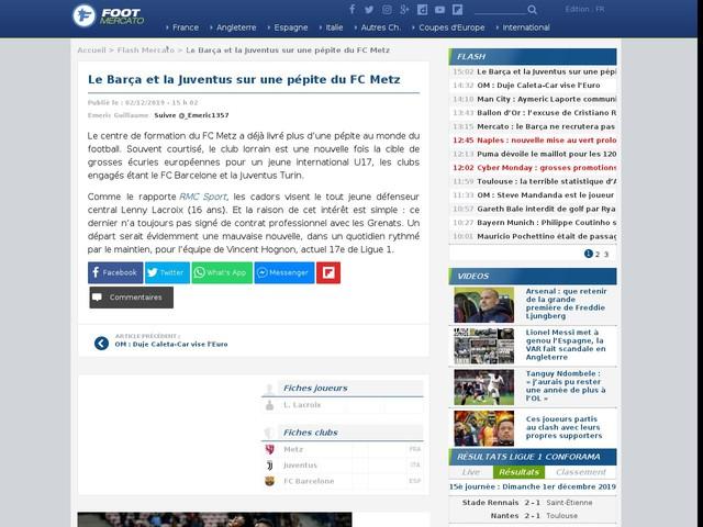 Le Barça et la Juventus sur une pépite du FC Metz